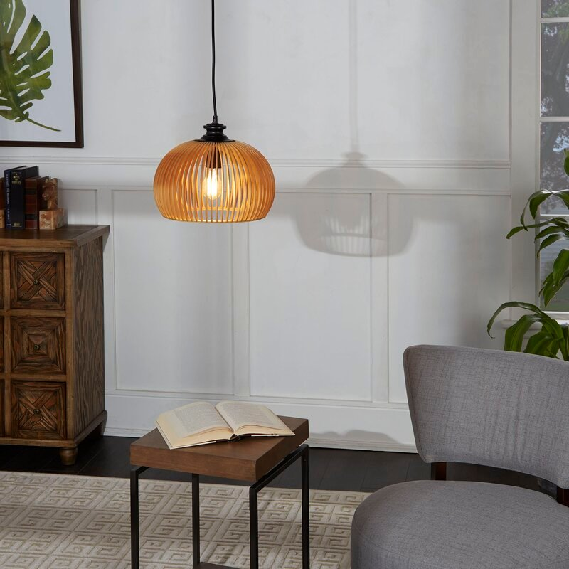 Mariano Wood Cage 1-Light Dome Pendant