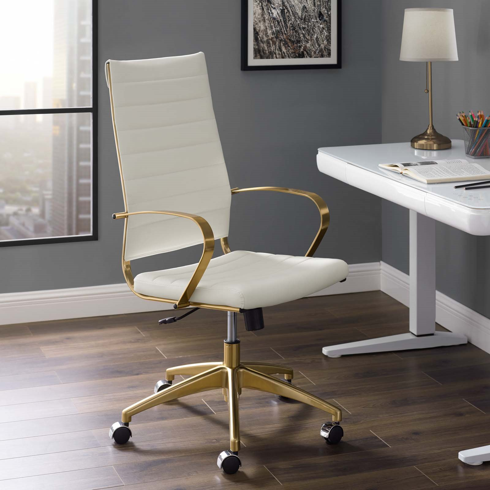 JIVE HIGHBACK OFFICE CHAIR IN GOLD WHITE