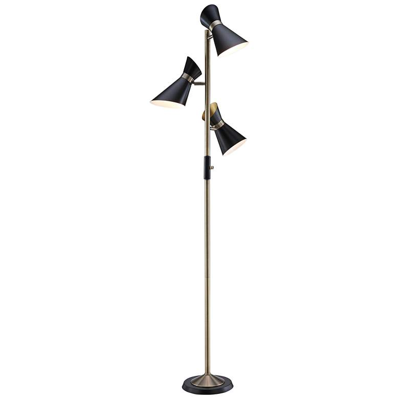 Jared Antique Brass and Black 3-Light Tree Floor Lamp