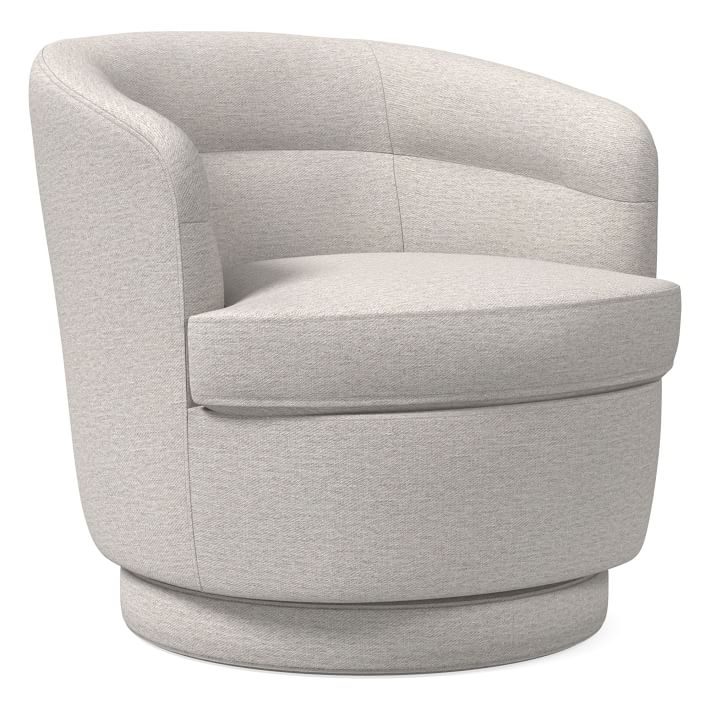 Viv Swivel Chair, Twill, Sand, Concealed Supports