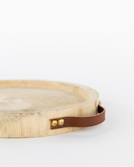 CARVED PAULOWNIA & LEATHER TRAY