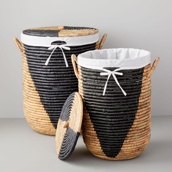 Woven Seagrass Hampers, Natural/Black, Large