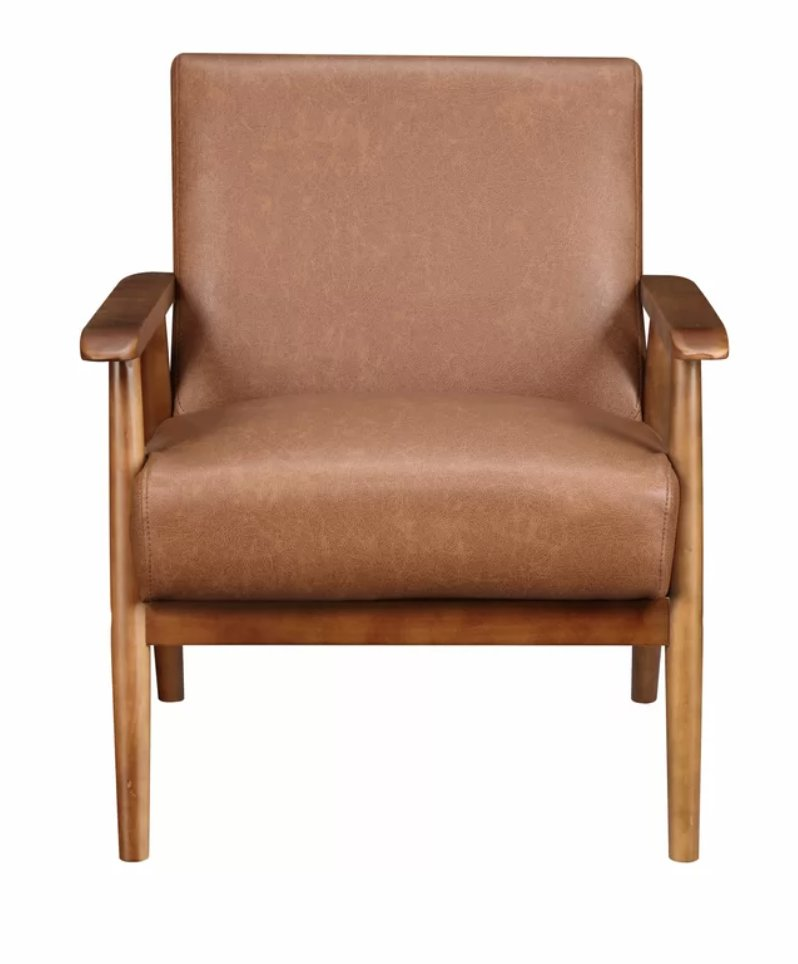 """Jarin 25.38"""" W Faux leather Armchair"""