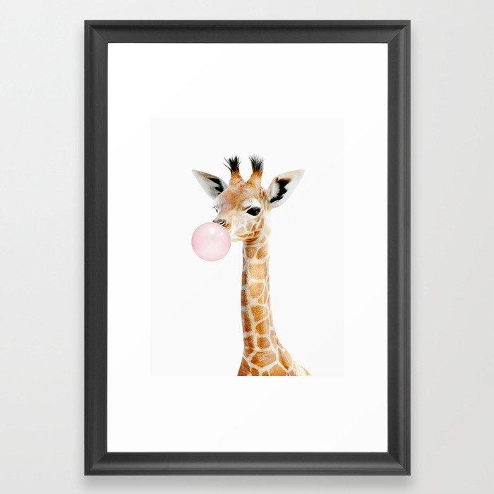Bubble Gum Baby Giraffe Framed Art Print