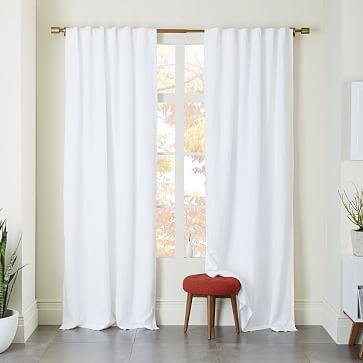 "Belgian Linen Curtain + Blackout Panel, White, 48""x84"""