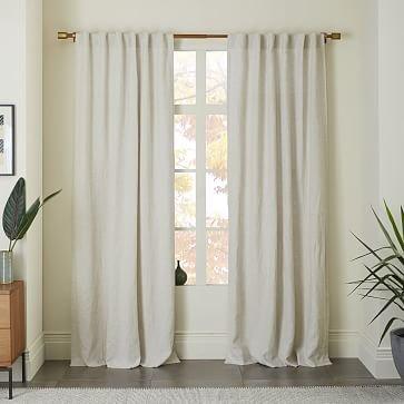 "Belgian Linen Curtain + Blackout Panel, Natural, 48""x108""-Individual (Single panel)"