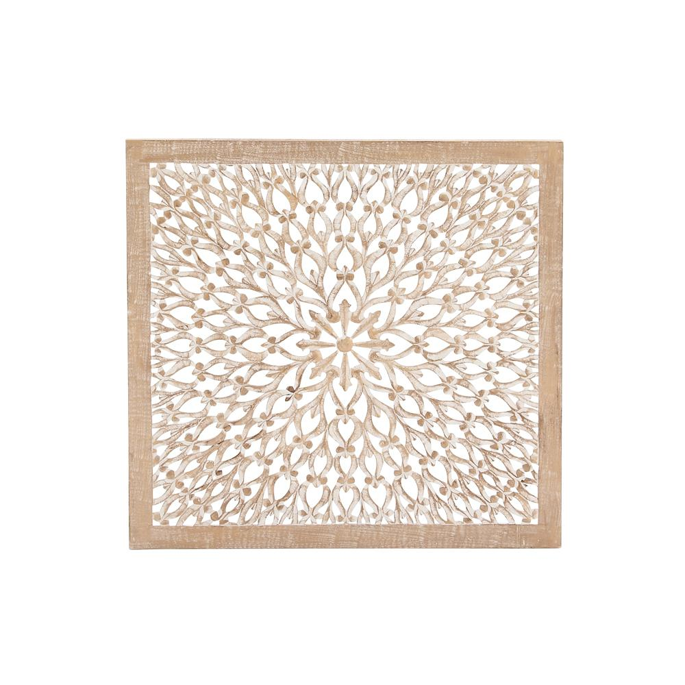 36 in. x 36 in. Rustic Decorative Carved Floral-Patterned Wooden Wall Panel in Distressed Brown