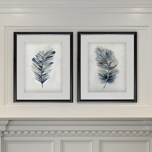 'Soft Feathers' 2 Piece Framed Acrylic Painting Print Set