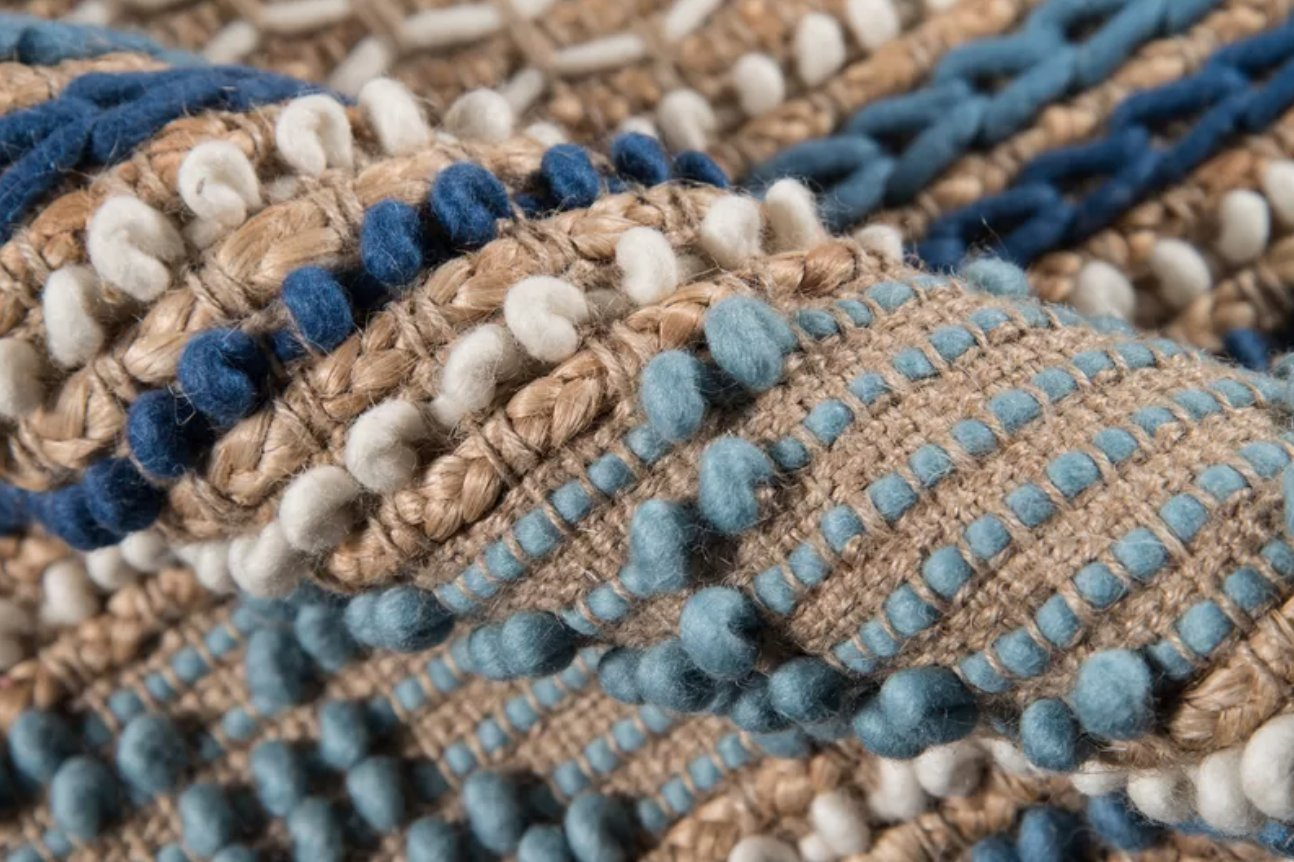 Damien Handmade Flatweave Beige/Blue Rug