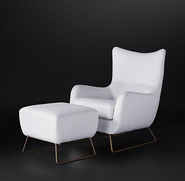 LIAM FABRIC OTTOMAN - Matte Brass Finish - Belgian Linen White Fabric