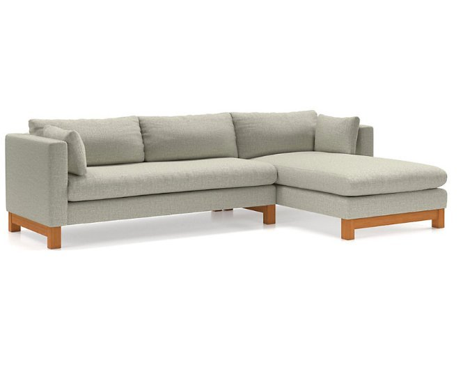 Pacific 2-Piece Chaise Sectional with Wood Legs