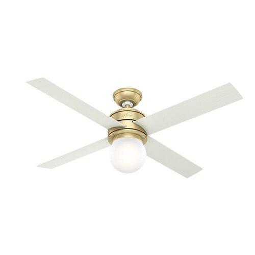 """52"""" Hepburn 4 Blade Ceiling Fan , Modern Brass/Aged Oak;White Grain"""
