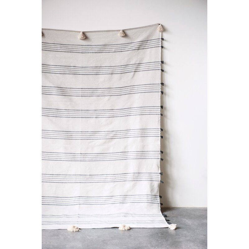 Menefee Striped Hand-Loomed with Tassels Cotton Blanket
