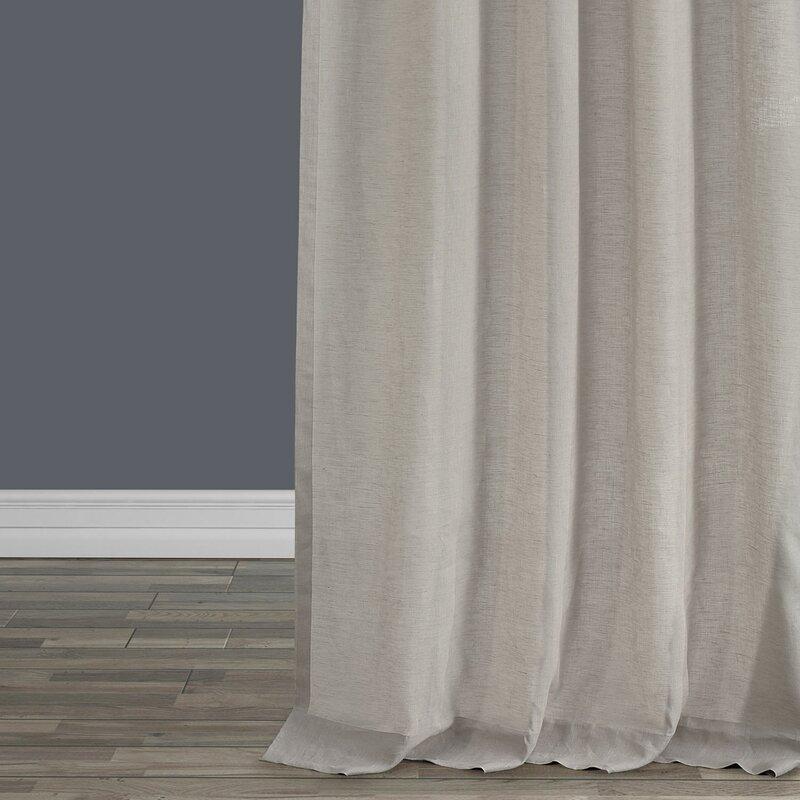 Pyrogi Linen Sheer Rod Pocket Single Curtain Panel