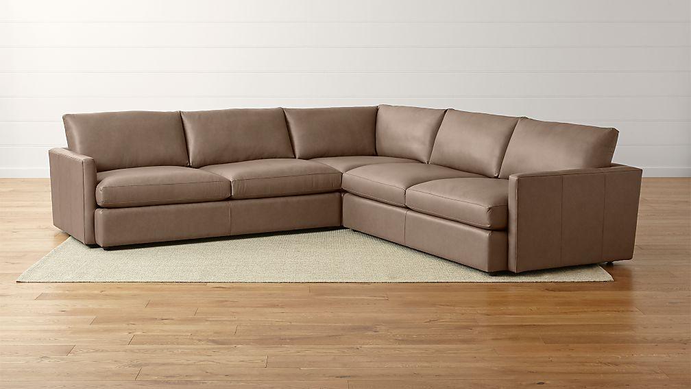 Lounge II Leather 3-Piece Sectional Sofa-Leather: Lavista, Slate