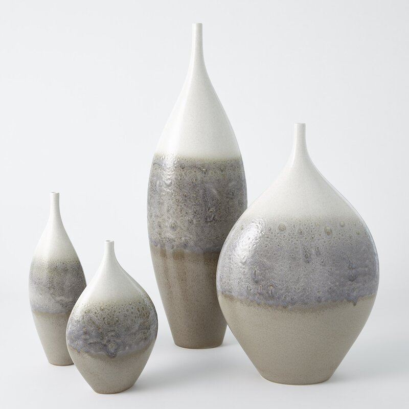 "Global Views Rises Ivory/Gray Ceramic Floor Vase Size: 30"" H x 8.5"" W x 5"" D"