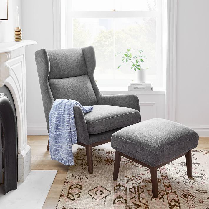 Ryder Chair, Twill, Stone, Dark Walnut