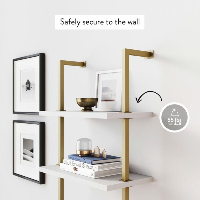 """Moskowitz 72"""" H x 24"""" W Metal Ladder Bookcase"""