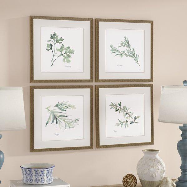 'Herbs' 4 Piece Framed Graphic Art Print Set