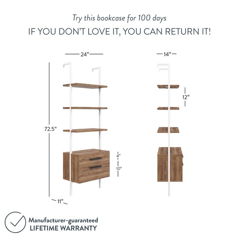 Zachary Open Shelf Industrial Ladder Bookcase