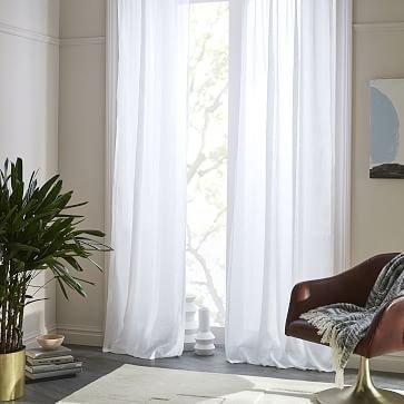 "Sheer Belgian Flax Linen Curtain, White, 48""x84"" -Individual"