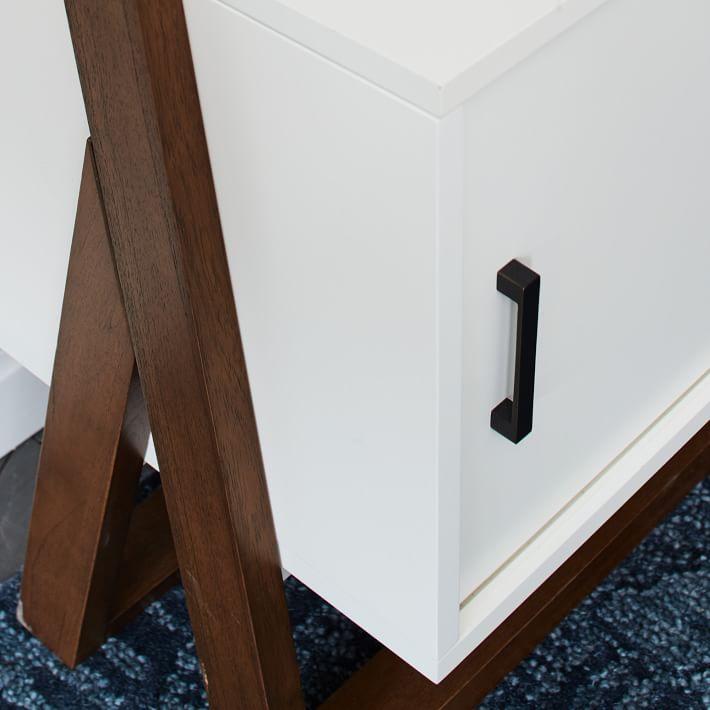 Ladder Shelf Storage Media Set 2: Media Console + 2 X Wide Shelves - White Lacquer/Dark Mindi