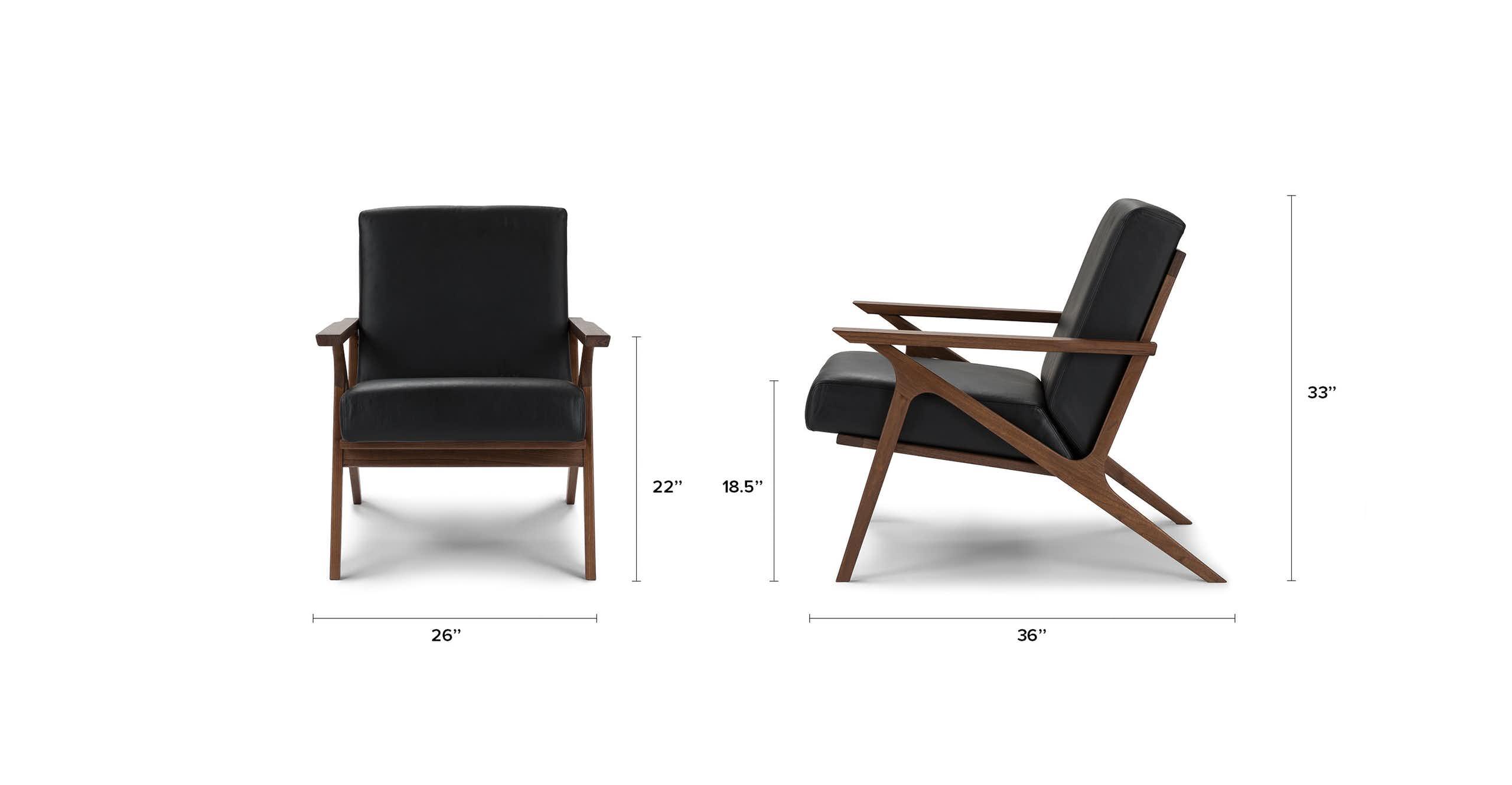 Otio Black Leather Lounge Chair