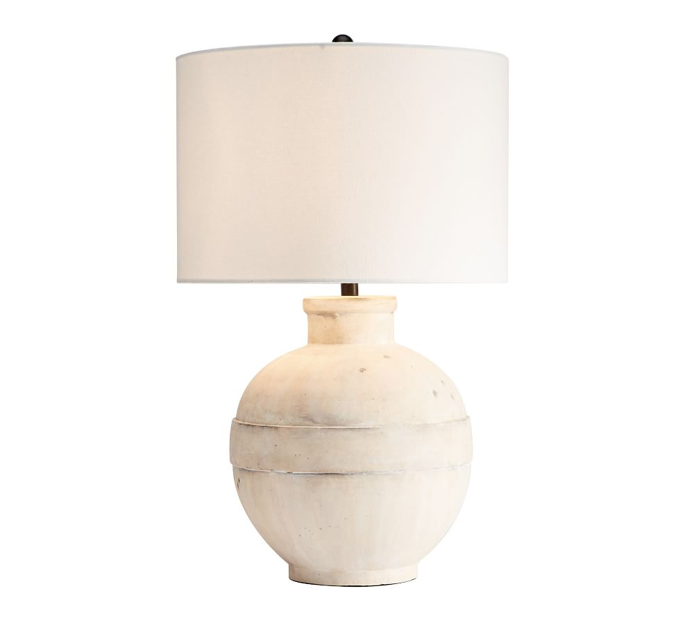 """Faris Ceramic 16"""" Table Lamp, Ivory Base with Medium SS Textured Gallery Shade"""
