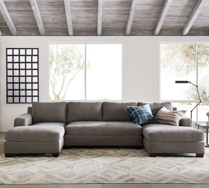 Big Sur Square Arm Upholstered U-Chaise Loveseat Sectional / Sunbrella® Performance Sahara Weave Mushroom