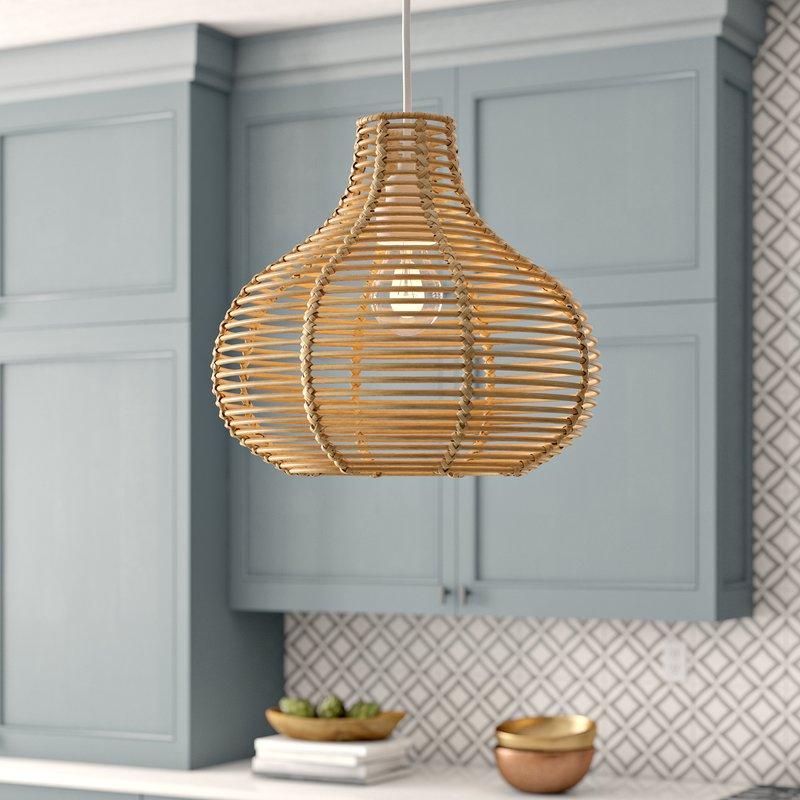 Niamh Continuous Weave Wicker Dome 1-Light Teardrop Pendant /  13'' H x 16'' W x 16'' D