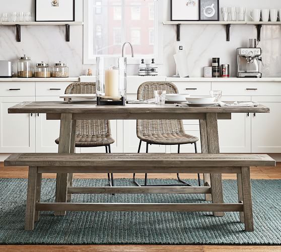 """Bartol Reclaimed Wood Dining Table, 71"""" L X 33"""" W, Cinder Gray"""