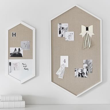 Wood Framed Hexagon Pinboard, Simply White