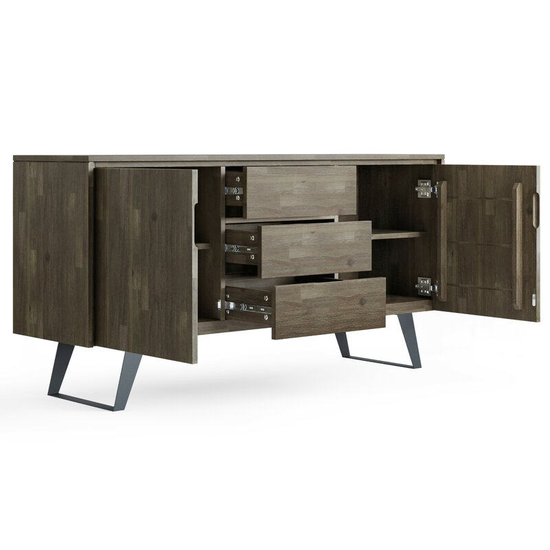 """Elle 60"""" Wide 3 Drawer Acacia Wood Buffet Table"""