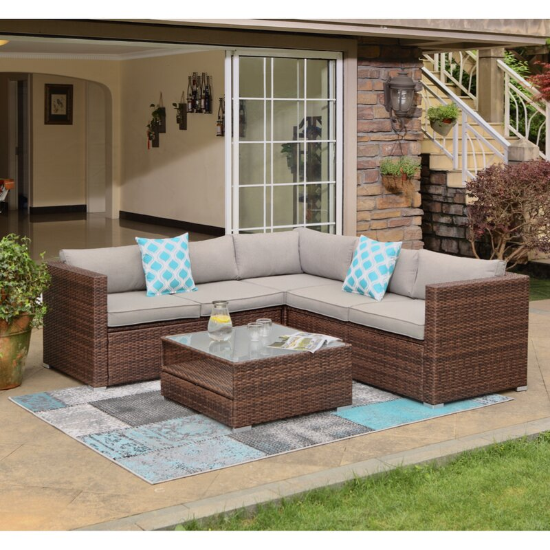 Newagen 4-Piece Outdoor Furniture Set Mottlewood Brown Wicker Sofa W Warm Gray Cushions, Glass Coffee Table, 2 Teal Pillows Incl. Waterproof Cover