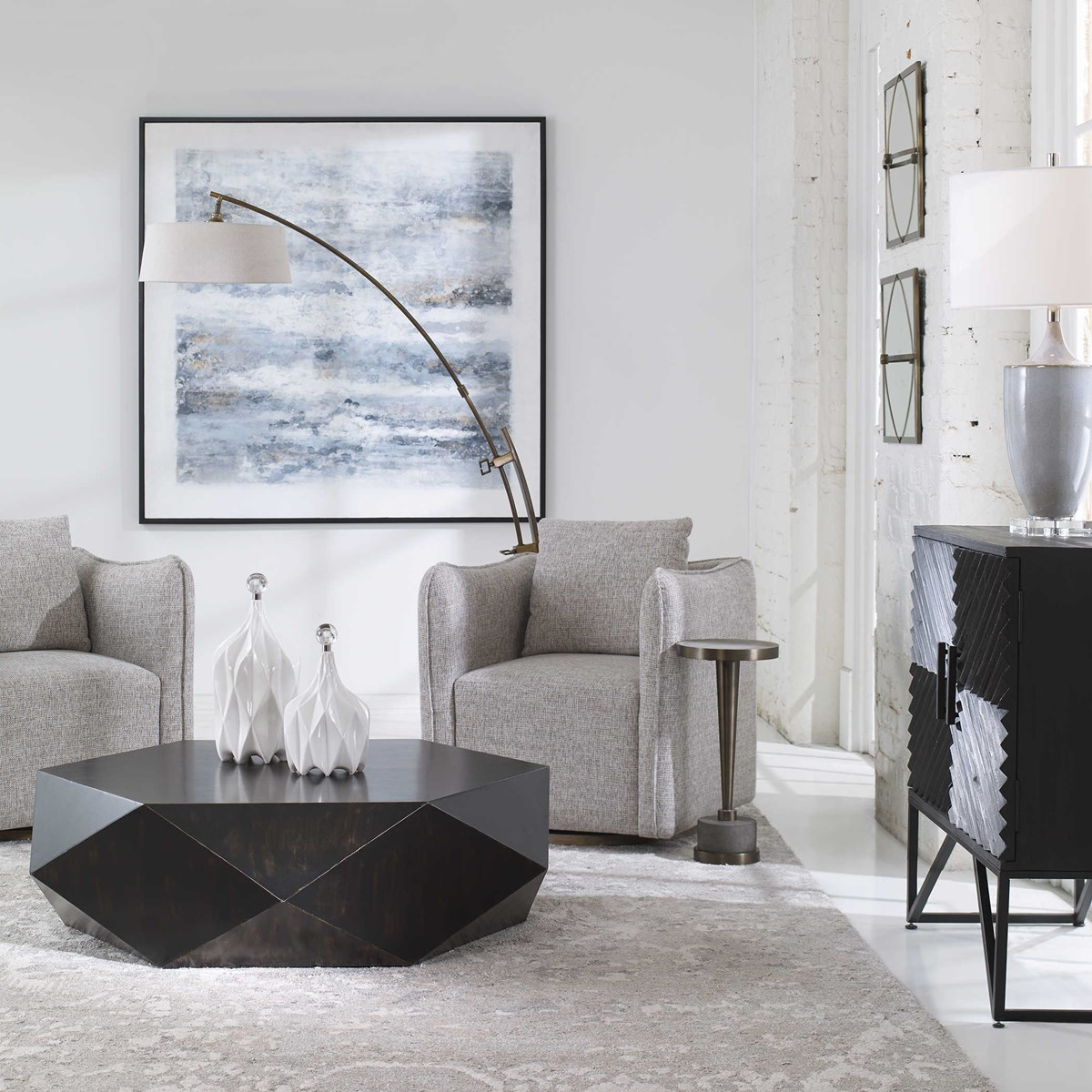 Axel Coffee Table, Distressed Black