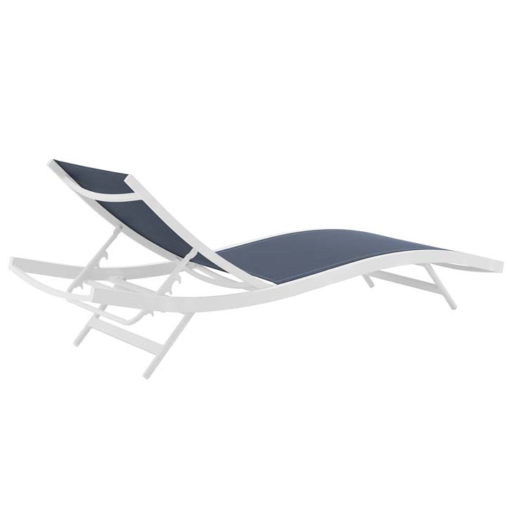 GLIMPSE OUTDOOR PATIO MESH CHAISE LOUNGE CHAIR IN WHITE NAVY