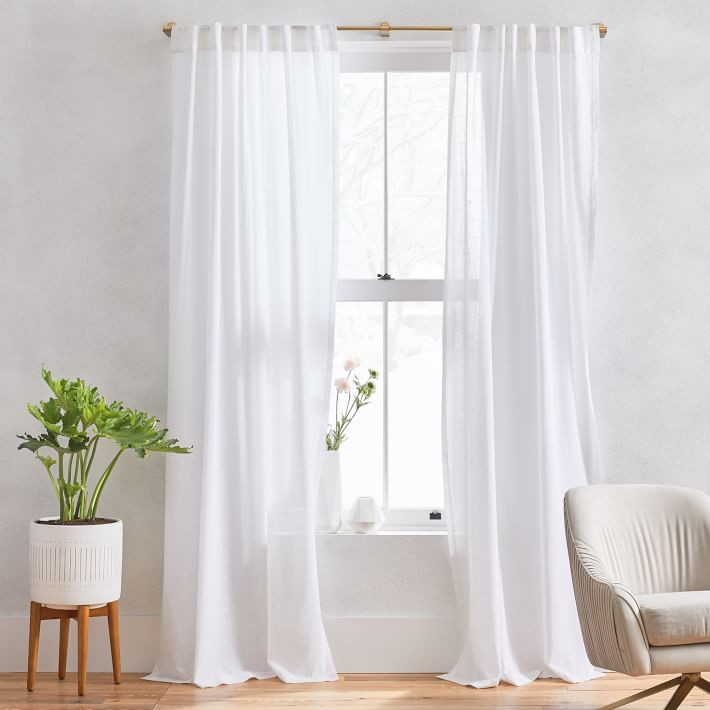 "Sheer Crosshatch Curtains (Set of 2) - White/ 48""x84"""