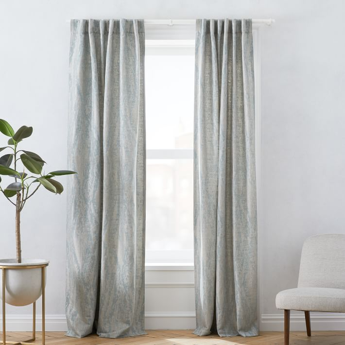 """Bark Texture Jacquard Curtain, Dusty Blue, 48""""x84"""""""