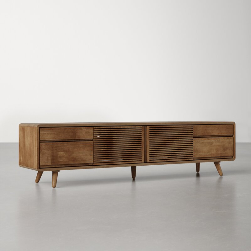 Keira 79'' Rubberwood Solid Wood TV Stand