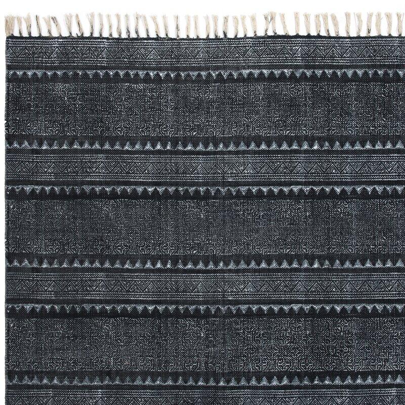 Astin Block Print Hand Woven Cotton Black/Denim Area Rug
