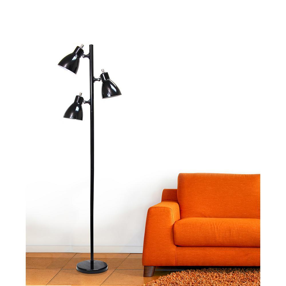 Simple Designs 63.75 in. Metal 3-Light Tree Black Floor Lamp