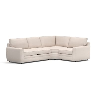 Pearce Square Arm Upholstered Right Arm 3-Piece Wedge Sectional, Down Blend Wrapped Cushions, Performance Heathered Tweed Pebble