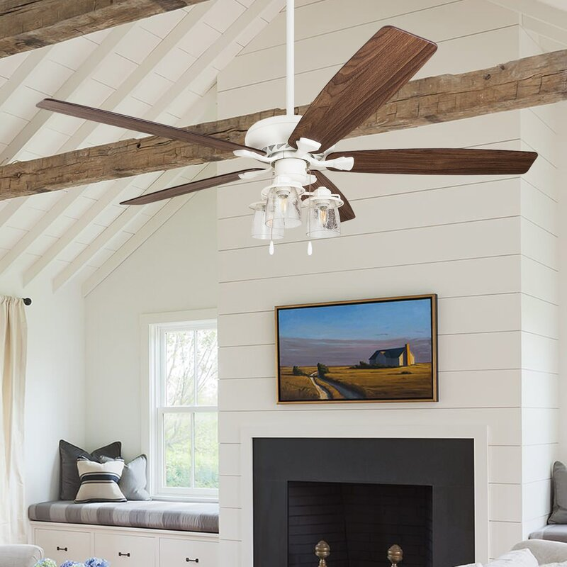 """60"""" Winterview 5 Blade Ceiling Fan, Light Kit Included, Remote"""