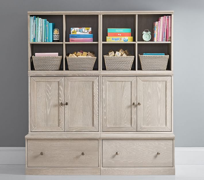 Cameron Small Space with Drawer Bases Storage Wall System, Heritage Fog