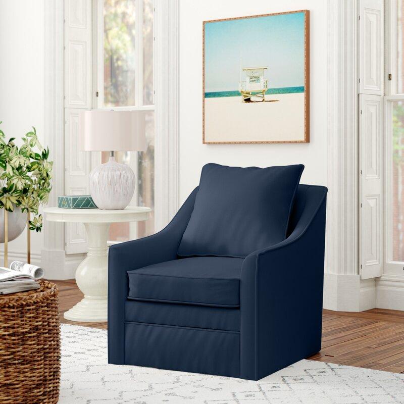 Aaronsburg 30'' Wide Swivel Armchair / Sunbrella® Spectrum Indigo