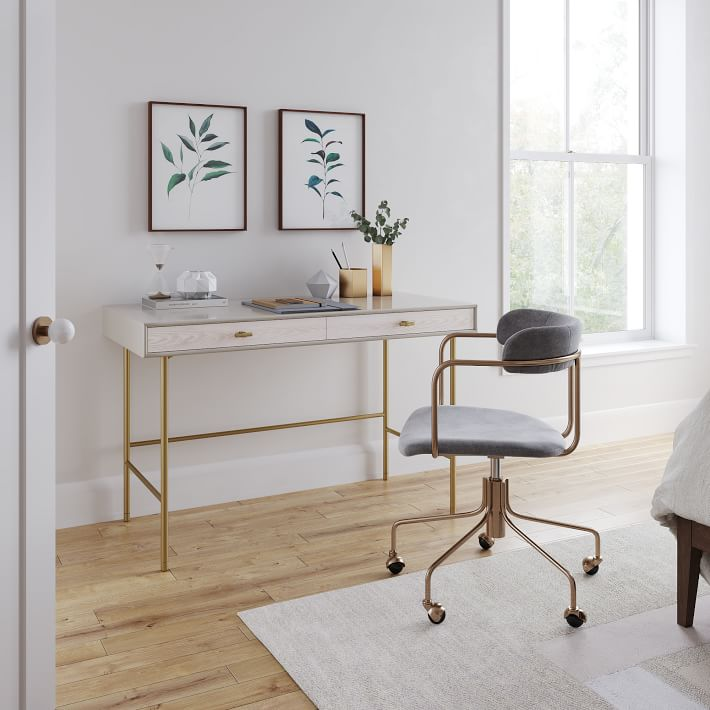Modernist Wood & Lacquer Desk - Winter Wood