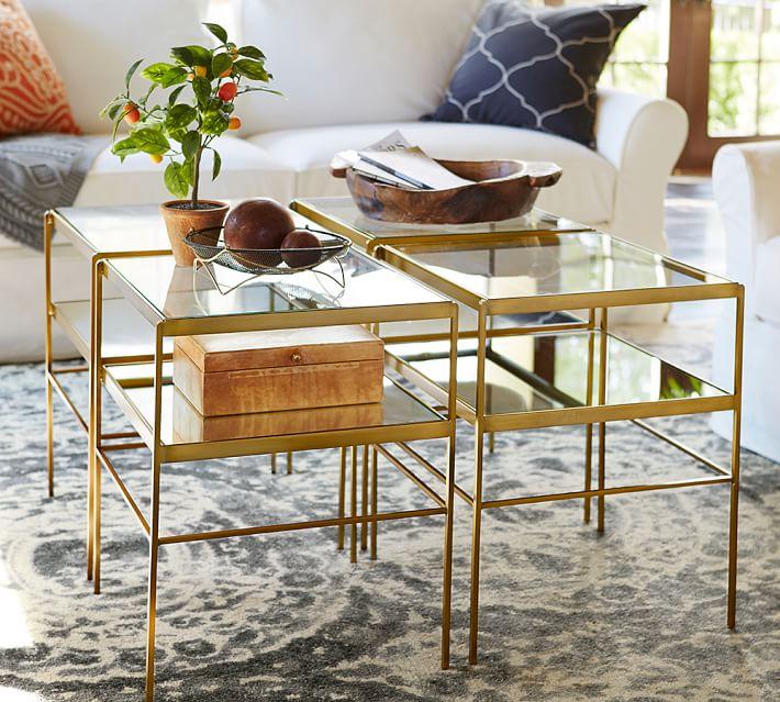 Leona Metal Cube Table, Brass