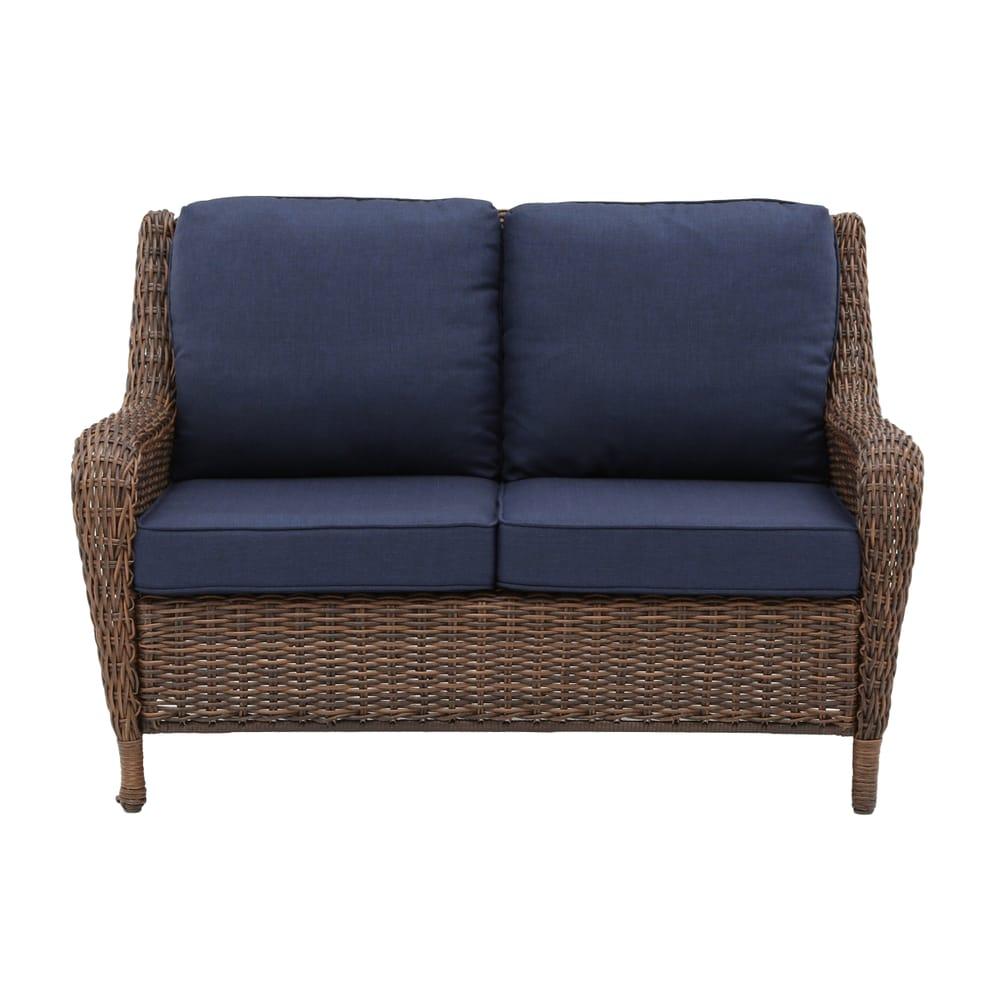 Hampton Bay Cambridge Brown Wicker Outdoor Patio Loveseat with Standard Midnight Navy Blue Cushions
