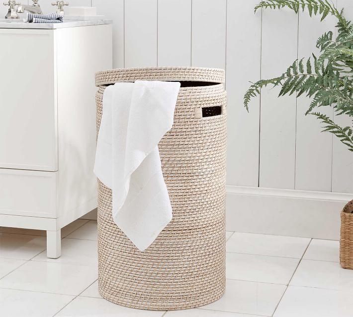Tava Single Hamper, White Wash