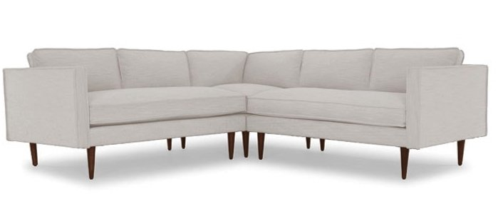 Serena Mid Century Modern Corner Sectional - Prime Dove - Mocha